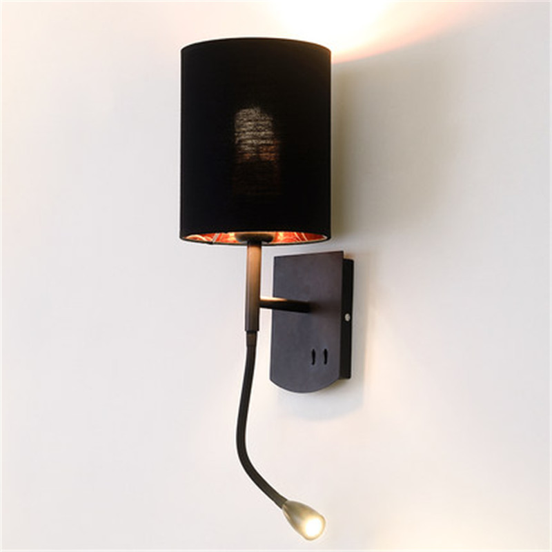 Simple Modern Style Switch Reading LED Wall Light Fixtures Rotating Bedside Wall Lamp Fabric Shade Wall Sconce Home Lighting simple style with usb switch modern led wall light fixtures read bedside wall lamp fabric shade iron wall sconce home lighting