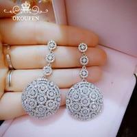 Luxury Long Bohemia Earrings For Women Jewelry Silver Alloy AAA Zircon Rhinestone Round Stud Nails Wedding Engagement Gown
