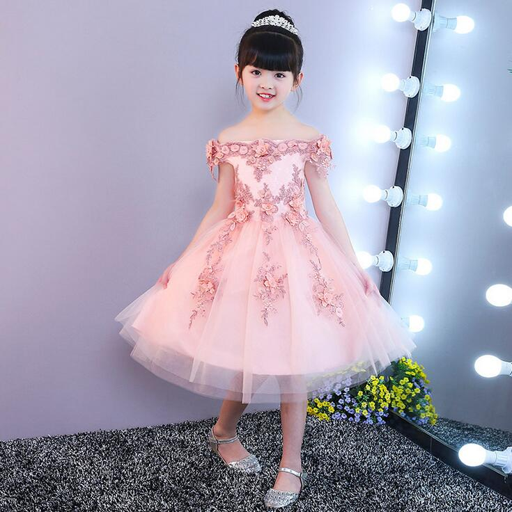 Girls Shoulderless Lace Dress Baby Girl Birthday Party Dresses Children Fancy Princess Ball Gown Wedding Clothes girl