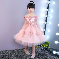 Girls Shoulderless Lace Dress Baby Girl Birthday Party Dresses Children Fancy Princess Ball Gown Wedding Clothes