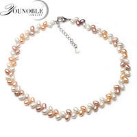 YouNoble Genuine freshwater pearl necklace pendant,real wedding pearl necklaces for women mother birthday anniversary best gift