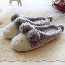 Big Size 5-12 Cute Sheep Animal Women Home Slippers For Girls Ladies Indoor Bedroom Cotton Female Shoes Winter Soft Bottom Flats