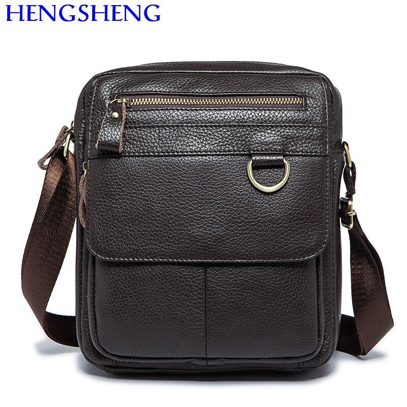 Hengsheng Hot sale vintage genuine font b leather b font men shoulder bags with cow font
