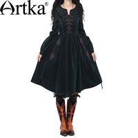 Artka Women S Autumn Vintage O Neck Lantern Sleeve National Embroidery Patchwork Slim Knee Length Cotton