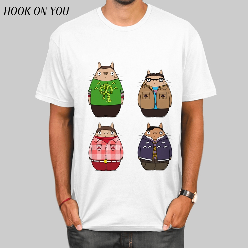 Hot sale smen T-shirt Cotton O-neck Totoro The Big Bang Theory T Shirt Summer Casual Male Tee Shirt Einstein cube print