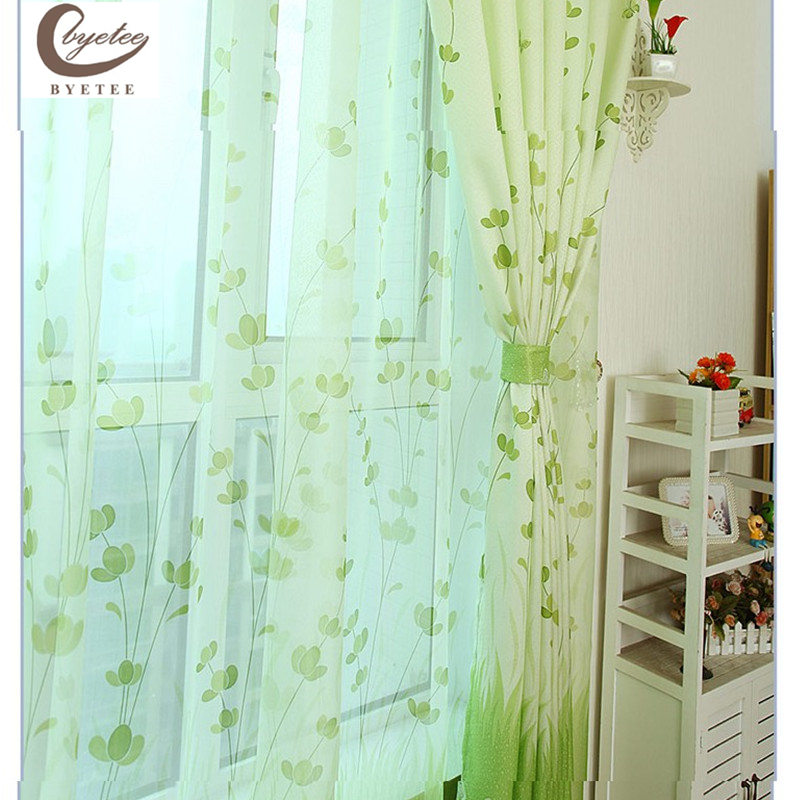 {byetee} Semi Shading Green Window Dør Gardin Stoffer For Living Room Soverom Fabric Kitchen Blackout Gardiner Drapes