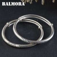 BALMORA 1 Piece 990 Pure Silver Butterfly Bangles for Women Gift about 17cm Vintage Animal Thai Silver Fashion Jewelry WBH0156