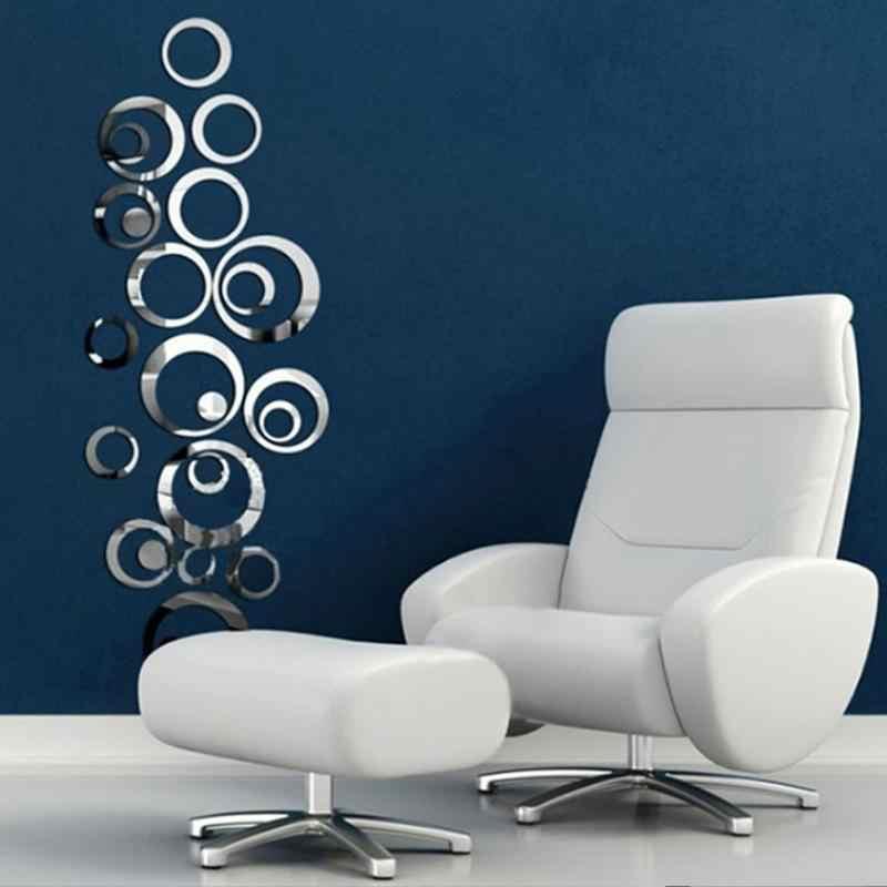 Círculos 3D Espelho de Parede Adesivos de Vinil Adesivo de Parede DIY Sala de Estar Quarto Sofá TV Fundo papel de Parede Arte Mural Decoração de Casa