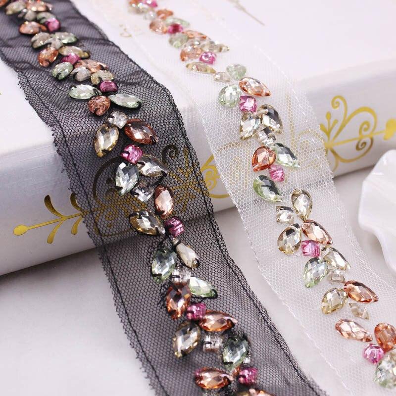 1 Yard 3.0cm Diamond Beaded Handmade Lace Edge Trims Wedding Dress Belt Sash Ribbon Bridal Applique Fabric Sewing Craft DIY  013