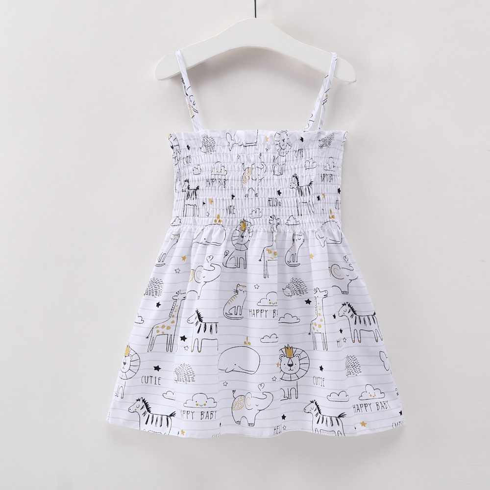 5d80a3808aaa7 2018 Summer Baby Ruched Party Dresses New Baby Clothes Girl Elephant  Elephant Giraffe Printed Cool Bebe Kid Causal Loose Dress
