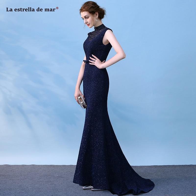 Vestido boda mujer invitada new high neck lace crystal back navy blue burgundy sexy mermaid   bridesmaid     dresses   trailing wedding