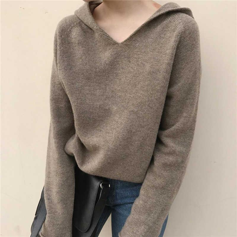 Весна и осень Новый Свободный вязаный пуловер с капюшоном Женский кашемировый свитер однотонный шерстяной кардиган с капюшоном