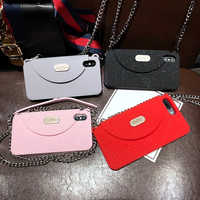 Newest Luxury Fashion Women's wallet Soft Silicone Phone Case Cover For iPhone XS MAX XR X 6 6S Plus 7 8 plus With long Chain