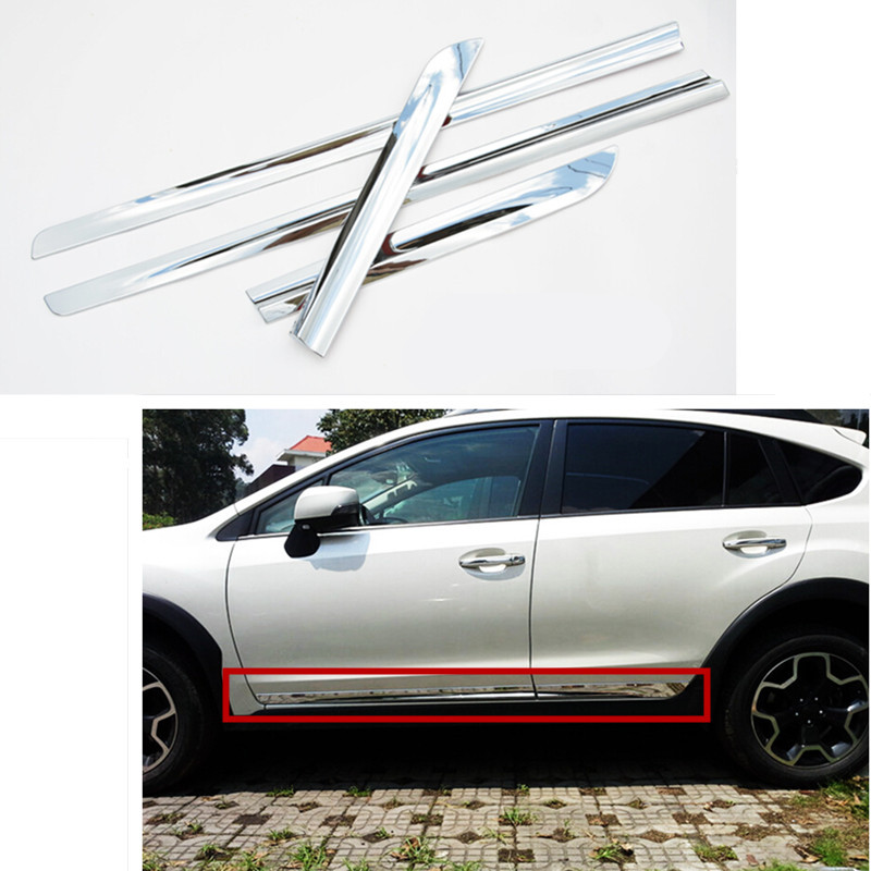 Car styling side body trim decoration trim for subaru xv 2012 2013 2014 2015 abs chrome 4pcs per set fit for subaru forester 2013 2014 2015 2016 2017 2018 car styling abs chrome body side overlay cover trim trims