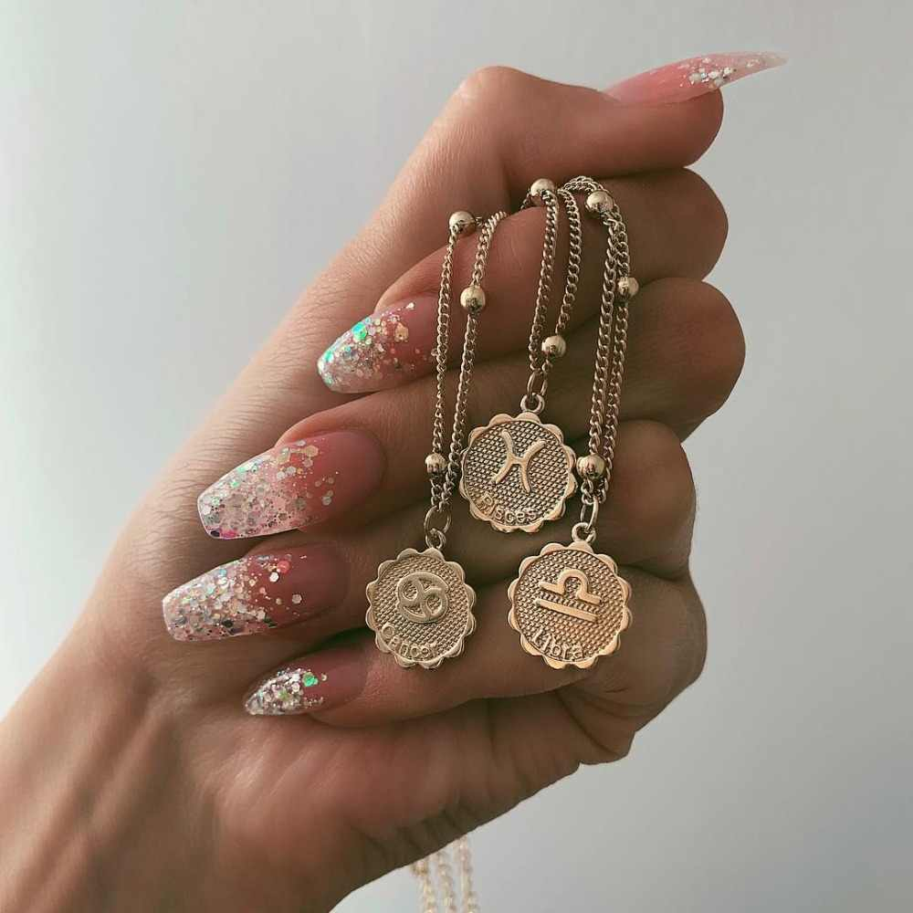 Twelve Constellations Coin Necklace Statement Copper Leo Pendant Necklace Women Jewelry Twelve Horoscope Clavicle Chain