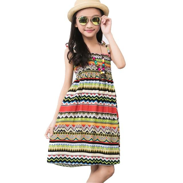 Las chicas adolescentes vestidos 2018 verano playa flor princesa cabestrillo vestido para bebé niñas 3-12Y niños ropa de bebé collar de regalo