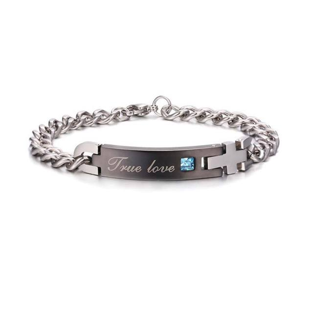 "Unique Lover ""His Queen""""Her King "" Couple Bracelets Stainless Steel Bracelets For Women Men Jewelry Gift"