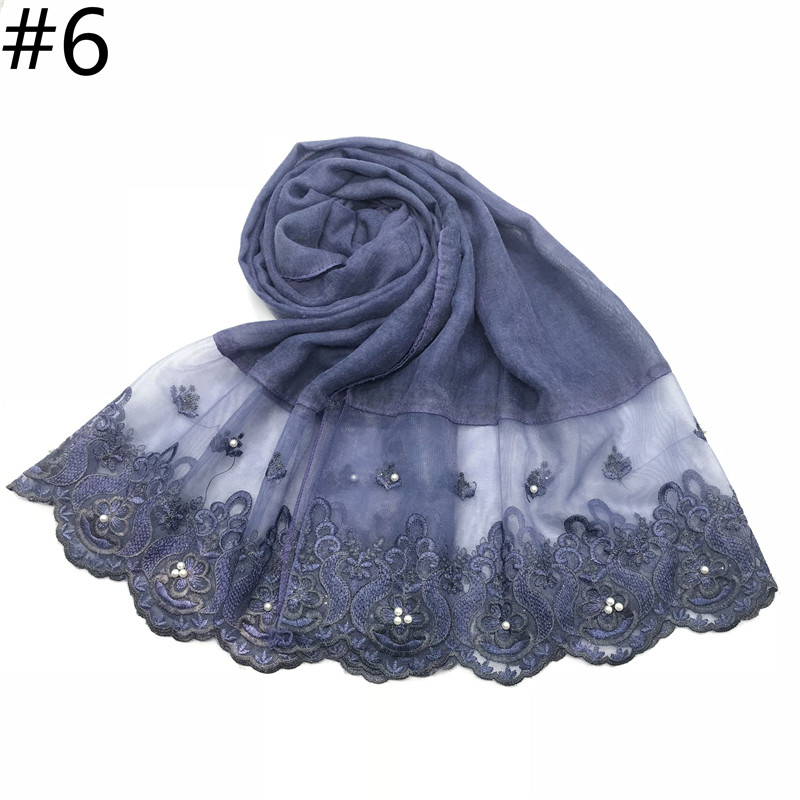 Image 3 - 1pc Two Sides Lace Edges Muslim Cotton Scarf Plain Hijab With 