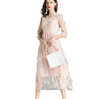 New Arrival 2018 Pink Runway Dress Women Mesh Mid Calf Three Dimensional Flowers Embroidery Dress To Party Vestidos De Gala