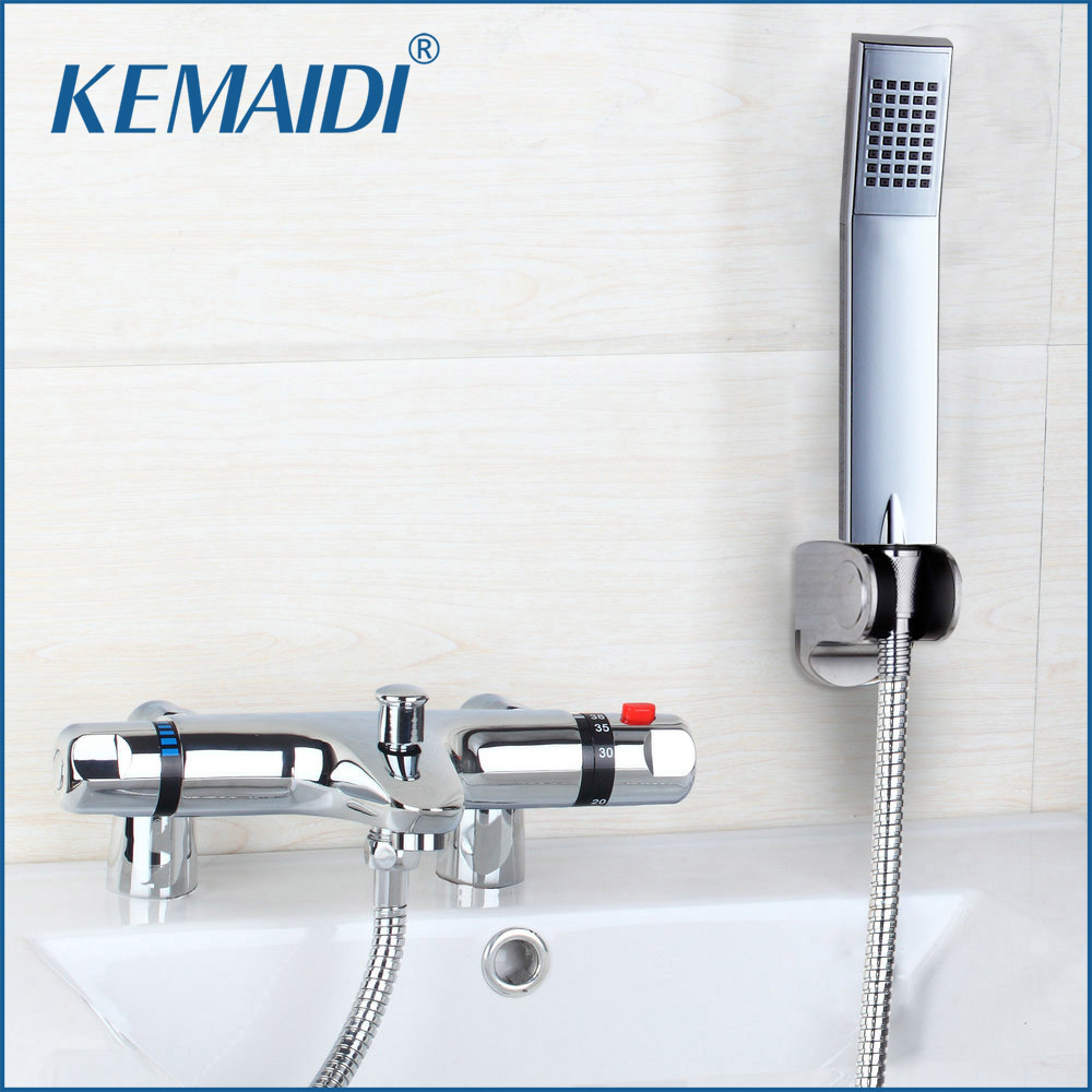 Deck Mounted Thermostatic Faucet Anti-scald Bathroom Bath Shower Mixers  With Hand Shower Thermostatic Faucet Chrome Finish Mixer