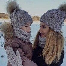 1-2Pcs Mother Kid Child Hats Warm Winter Knit Beanie Caps Mom Baby Crochet Hats