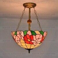 37cm carne país flores tiffany luz pingente lâmpada de vidro manchado para o quarto e27 110 240v cozinha jantar barra|glass lamp|lamp for|lamps for bedroom -