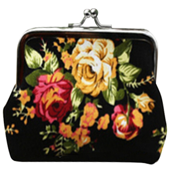 Latest Women/Girl Retro Rose Flowers Printed Hasp Canvas Coin Purse Wallets Buckle Pouch Mini Bag Gift