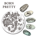 BORN PRETTY 1Pc Nail Stamping Plate 5.5cm Round Stamp Template Arabesque Honeybee Pattern Nail Art Image Plate BP-100