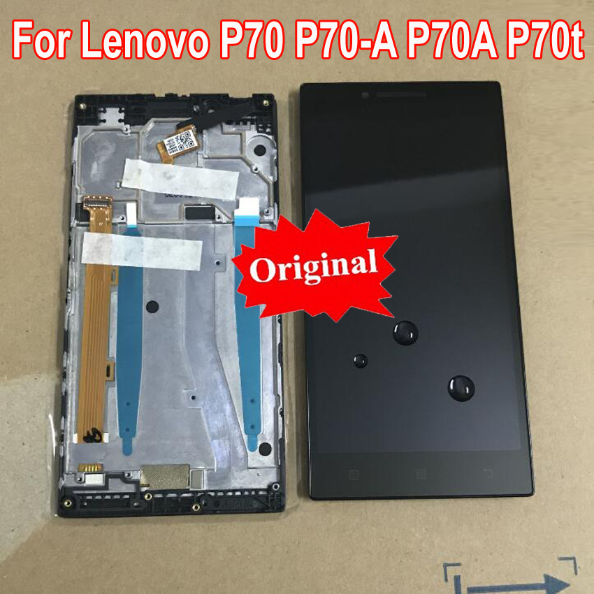 100% Original NEW LCD <font><b>Display</b></font> Touch Screen Digitizer Assembly with Frame For <font><b>LENOVO</b></font> <font><b>P70</b></font> A <font><b>P70</b></font>-A P70A P70t Phone Sensor Parts image