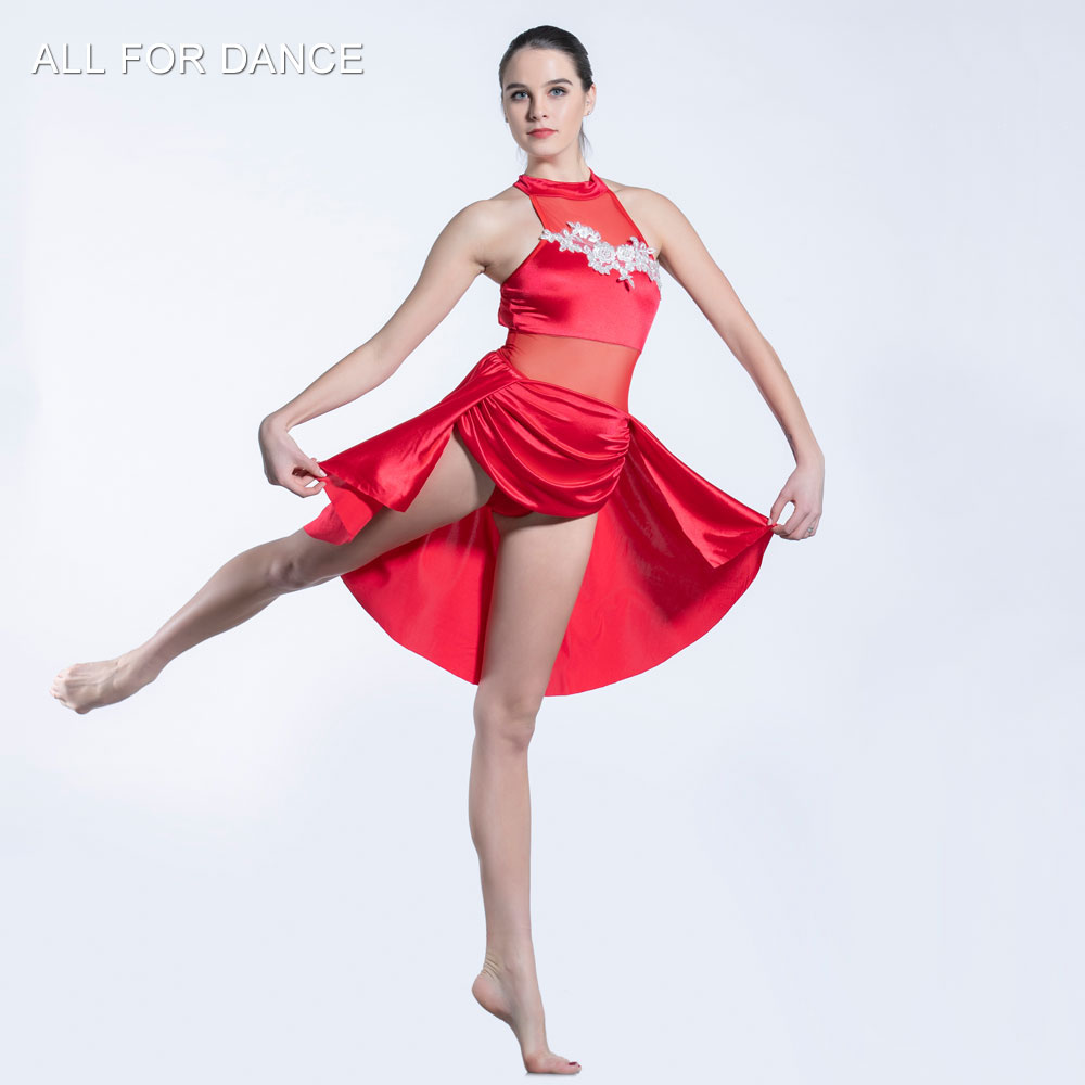 Red satin Bodice skirt ballet dress Girl & Women stage performance ballet costumes lyrical & contemporay dress image