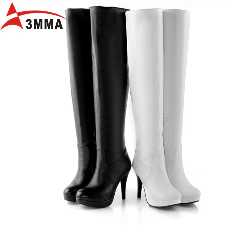 3mma handmade large size black the knee boots for
