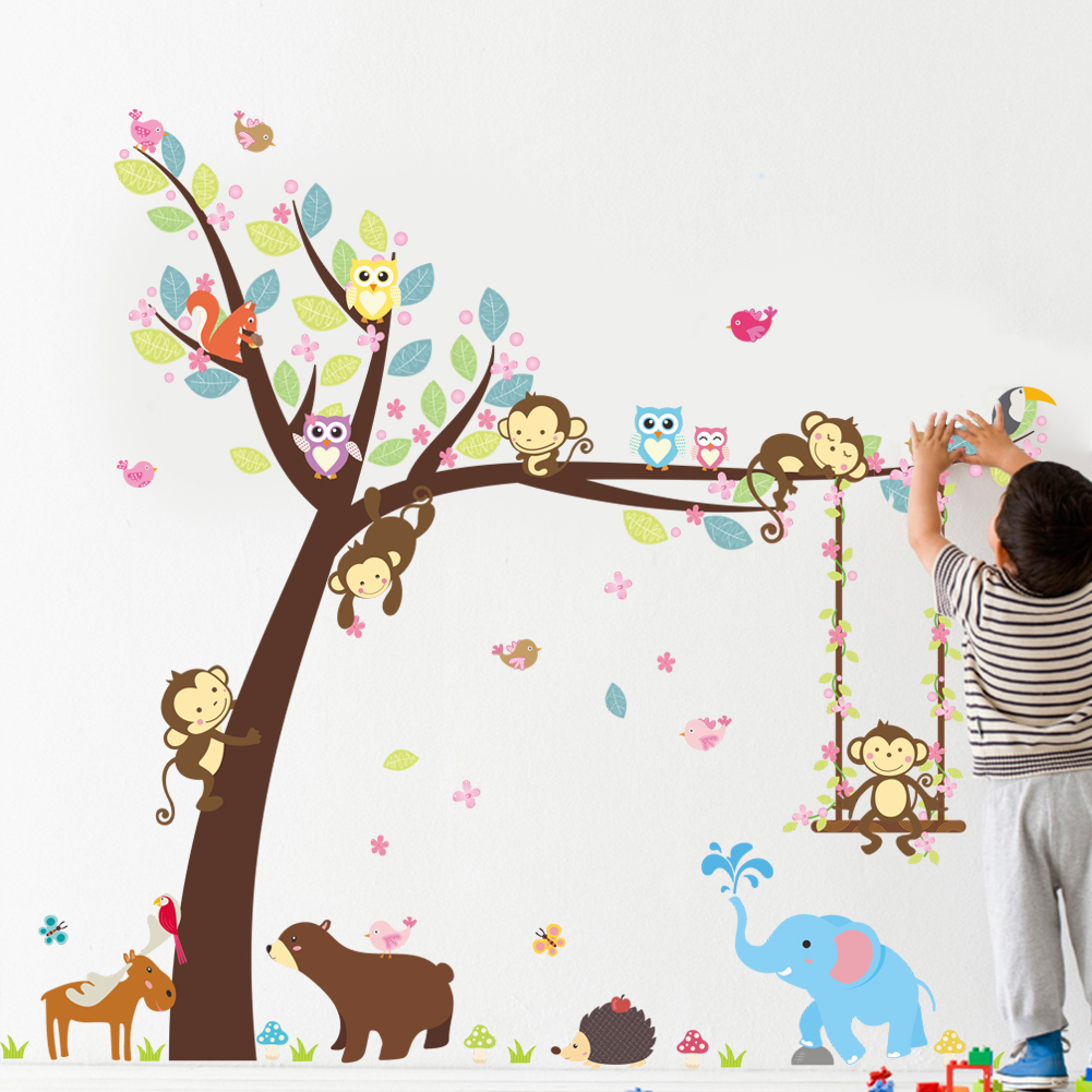 Cute Minkey Climb Tree Elephant Owl Bear Jungel Animals Wall Sticker Decorative Baby Nursery Home Decor Decal Kids Gift