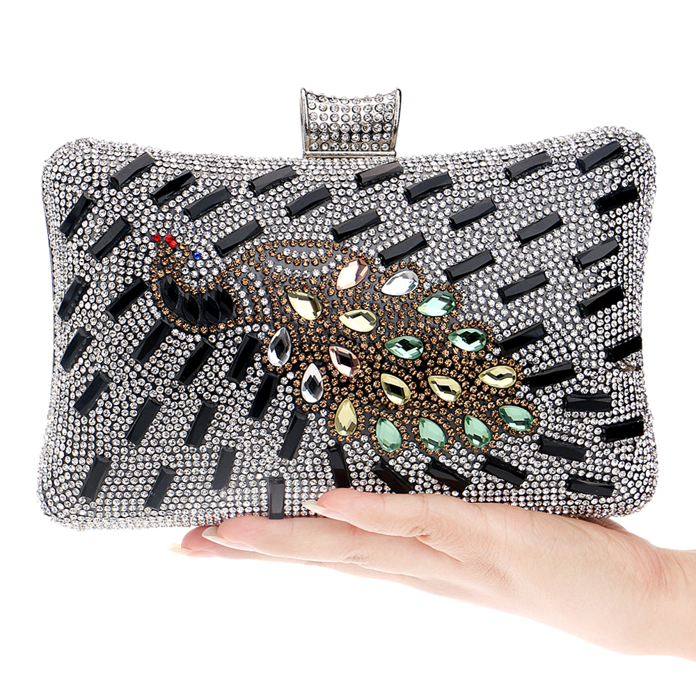Gold/Silver/Black Peacock One Side Women Bags Metal Day Clutches Evening Messenger Purse Bag