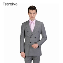 Wool Gray grid Custom made man suit men clothing customized Formal tailor Blazer  high-quality suits 2 piece (jacket+pants)