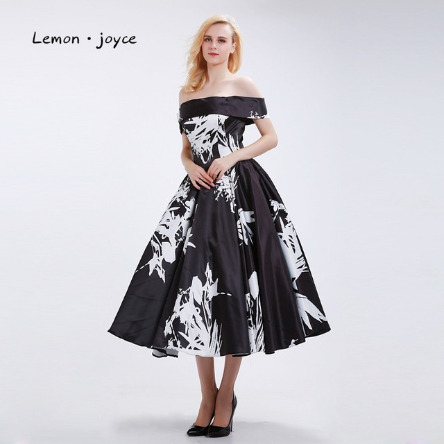 e28a9d65ed Black Elegant Prom Dresses 2019 for Women Sexy Off the Shoulder Simple  Pinted Floral Pattern Short Party Gowns Plus Size