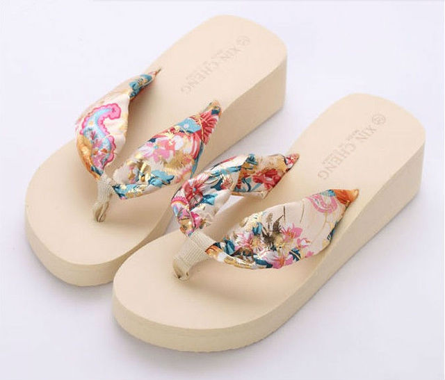 4bcb4033c2192 Fashion bohemia bronzier summer flip flops shoes female slippers sandals  wedges platform beach sandals