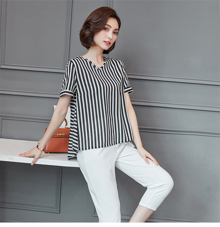 Plus Size Summer Striped Two Pieces Sets Women Short Sleeve Tops And Cropped Pants Suits Sets Casual Korean Women's Costume 2019 36
