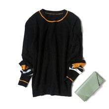 Veydu Модный женский весенне-Зимний пуловер с круглым вырезом и длинным рукавом, с цветным блоком, Повседневный Кардиган, черный женский джемпер, топы