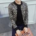 Outono Dos Homens dos Revestimentos do Revestimento Dos Homens Jaqueta de Moda Sexy Leopard Impresso Plus Size Slim Fit Casual Blusão Outwear 5XL-M 2 cores Hot