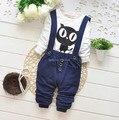 2017 весна осень дети мальчики одежда устанавливает bebe нагрудник ребенка и дети костюмы случайные футболки комбинезоны подтяжк брюки брюки