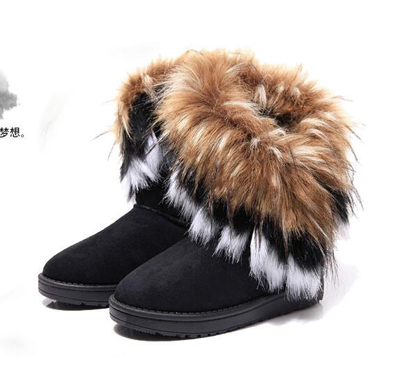 cd2a03e240 Free shipping Winter fur one cotton boots imitation fox fur rabbit fur snow  boots women's middle tube warm cotton shoes-in Mid-Calf Boots from Shoes ...