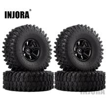 """Injora 4 шт 1,"""" обод колеса, фитинги и 1,9 резиновые шины Набор для 1/10 RC комплект автомобильных принадлежностей для передней и задней оси SCX10 90046 RC автомобилей Запчасти"""