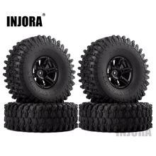 "INJORA 4Pcs 1.9 ""Beadlock Felge & 1,9 Gummi Reifen Set für 1/10 RC Crawler Axial SCX10 90046 RC Auto Teile"