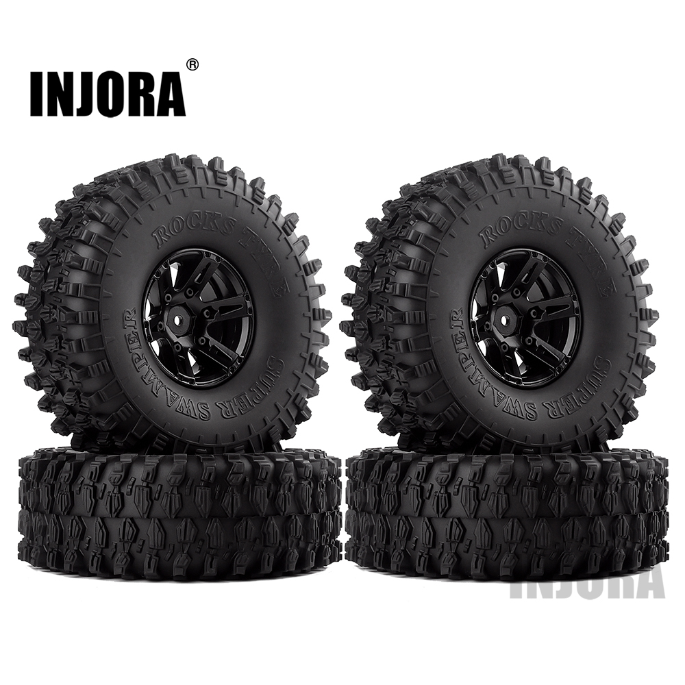 "INJORA 4Pcs 1.9"" Beadlock Wheel Rim & 1.9 Rubber Tires Set for 1/10 RC Crawler Axial SCX10 90046 RC Car Parts-in Parts & Accessories from Toys & Hobbies"