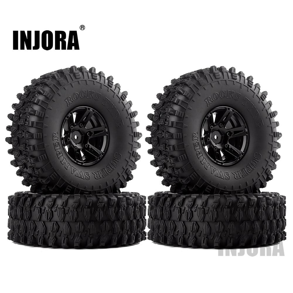 "INJORA 4Pcs 1.9"" Beadlock Wheel Rim & 1.9 Rubber Tires Set for 1/10 RC Crawler Axial SCX10 90046 RC Car Parts(China)"