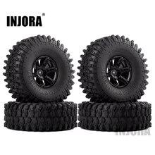 """INJORA 4Pcs 1.9"""" Beadlock Wheel Rim & 1.9 Rubber Tires Set for 1/10 RC Crawler Axial SCX10 90046 RC Car Parts"""