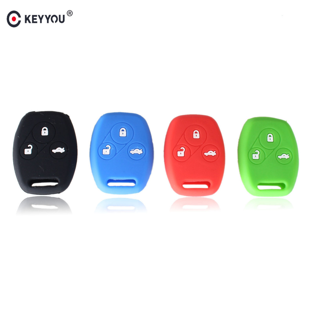 KEYYOU Sport Style Silicone Case Car Key Cover For Honda Accord CR-V CRV Civic Pilot Fit Freed StepWGN Key 3 Buttons Shell keyyou car style remote key fob case shell 2 buttons for honda civic crv accord jazz