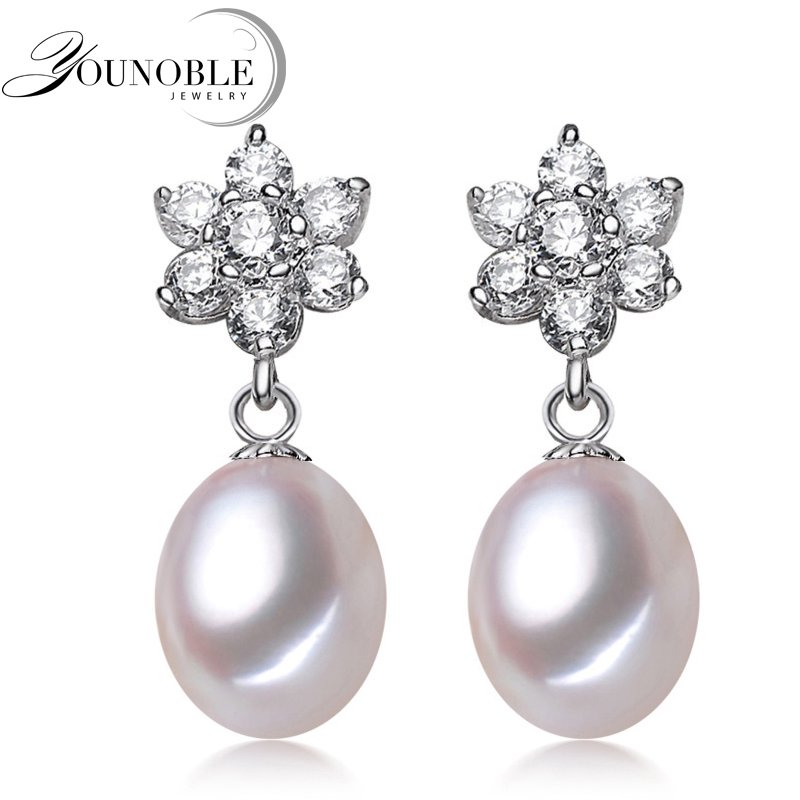 f59a5f813a68 Younoble real natural de agua dulce perla pendientes para las mujeres