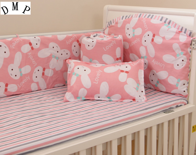 6PCS Cotton Cute Infant Baby Bedding Set For Girl Boys Bedding Set Kids Baby Bed Bumper,include:(bumpers+sheet+pillowcase) brandream cute kids boys cars print quilted bedding set cartoon 100