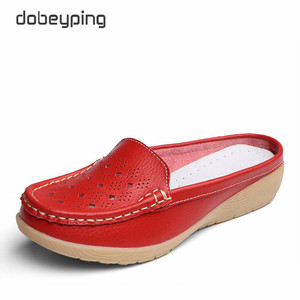 Image 4 - dobeyping Cut Outs Summer Woman Shoes Genuine Leather Women Flats Hollow Womens Loafers  Soft Mother Moccasin Shoe Size 35 41